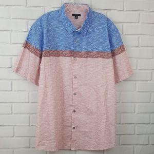 Alfani Multi Color Short Sleeve Button Down Shirt